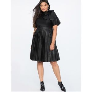 NWT Eloquii Faux Leather Tie Neck Pleated Dress.